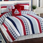 white-wooden-double-size-bed-using-nautical-bedding-set-combined-with-white-valance-placed-on-dark-brown-wooden-floor-with-red-white-and-blue-bedding-sets-also-red-white-and-blue-bedspreads