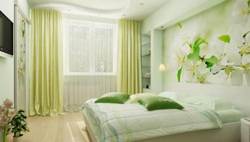 фото Занавески в спальне в зеленых тонах