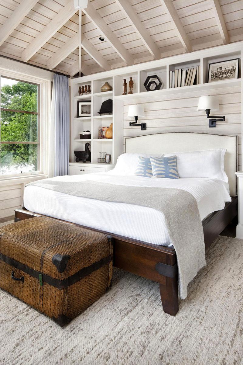 банкетка сундук в интерьере спальни