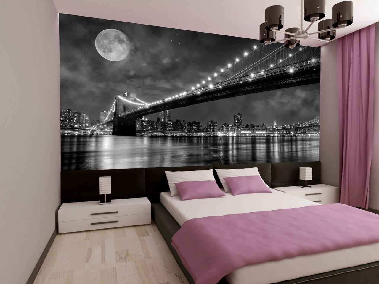 фотообои над кроватью ночноймост в интерьере спальни с розовымы оттенками