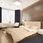кровать, кресла, тумбы и светильники в стиое минимализм