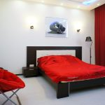 красная спальня в стиле минимализм