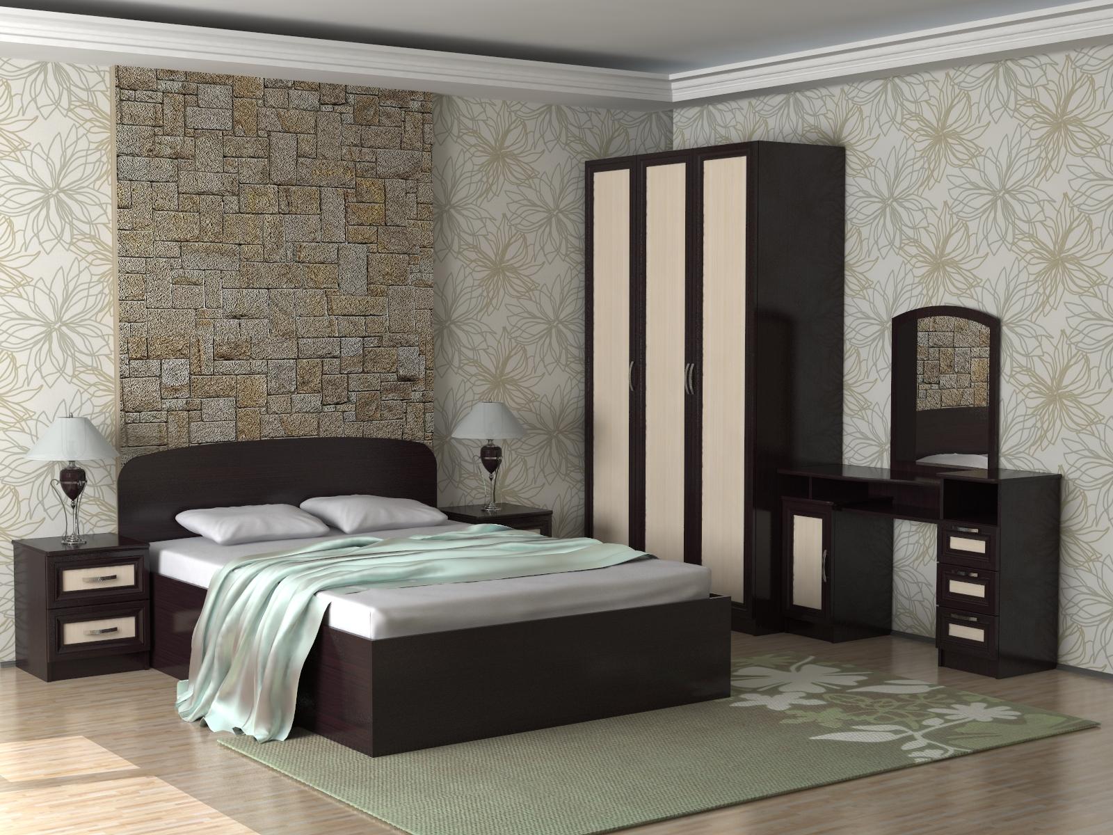 спальный гарнитур венге в интерьере спальни