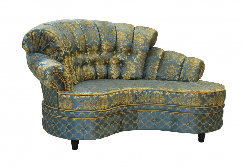 банкетка диван соспинкой синяя с позолотой