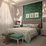 мятная банкетка в интерьере спальни