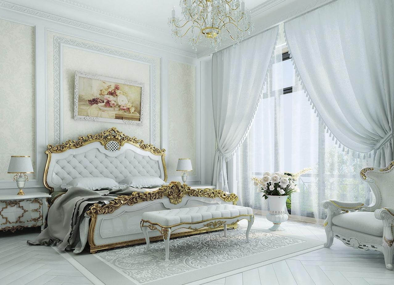 белая спальня в стиле классик
