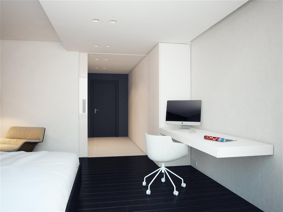 дизайн черно-белой комнаты в стиле минимализм с рабочим местом