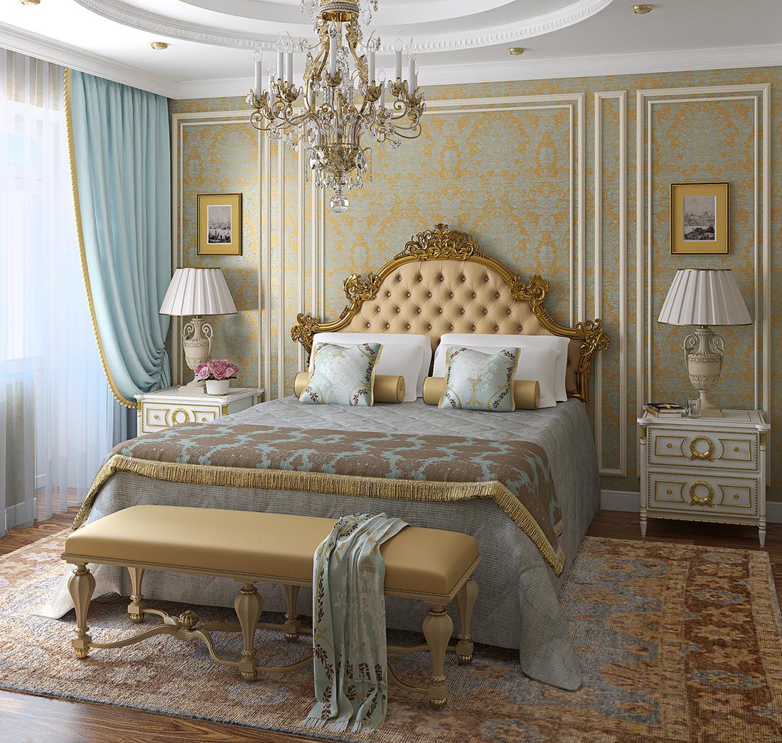 спальня в стиле классик с низкой люстрой