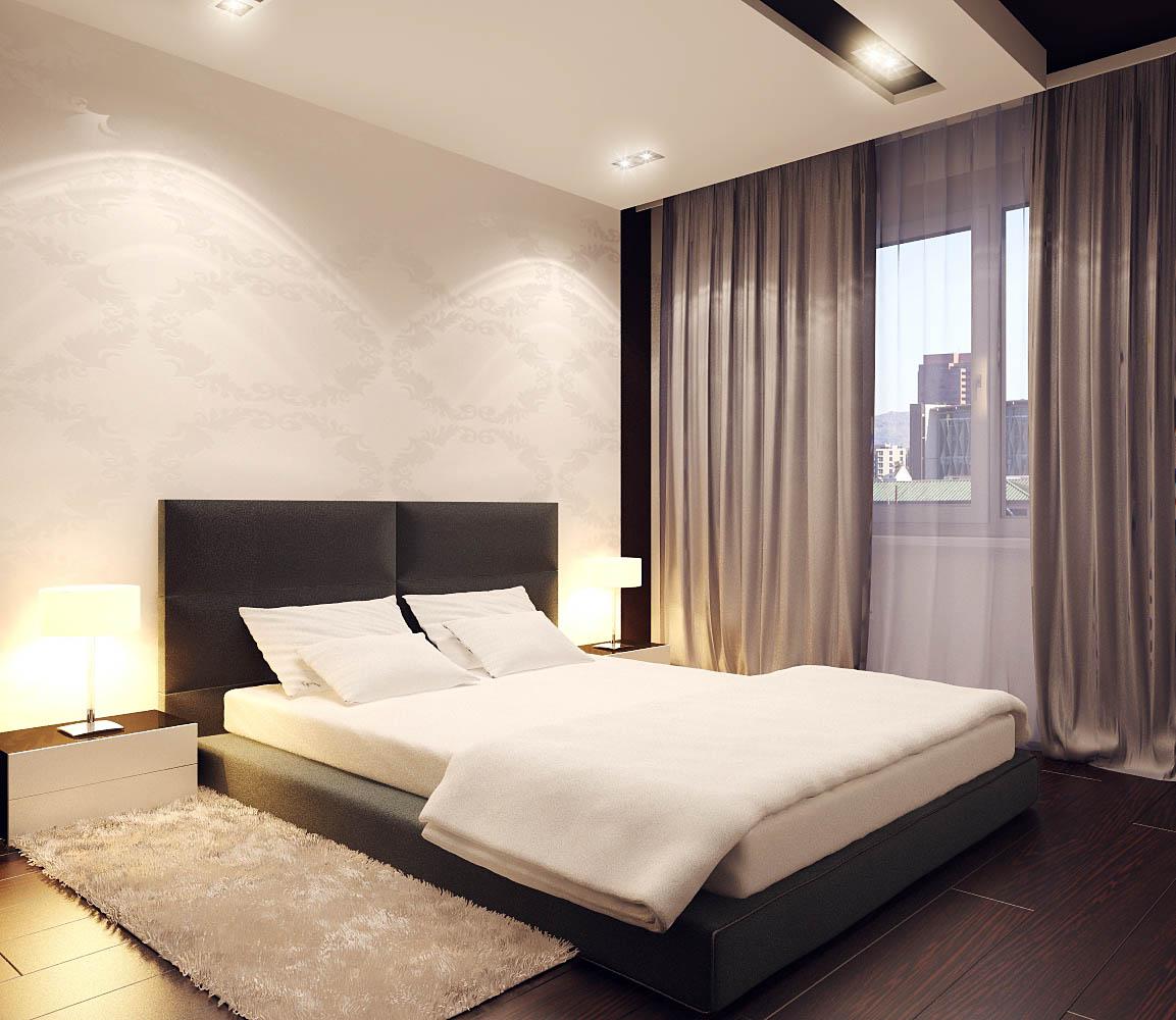 дизайн спальни минимализм с легкими занавесками на окнах
