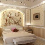 дизайн спальни в стиле классик с росписной стеной