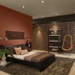 дизайн терракотовой спальни кирпичной стеной