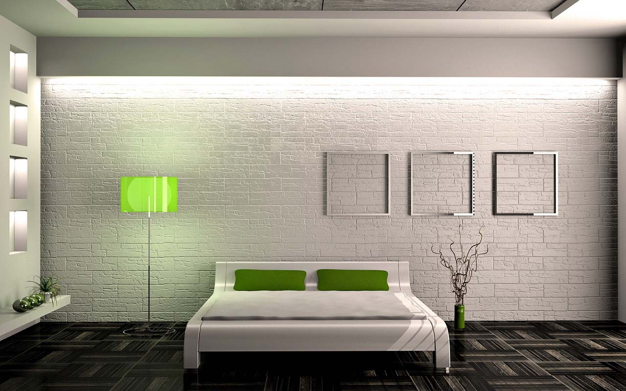 декор спальни с зелеными эллементами в стиле минимализм