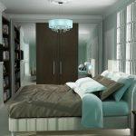 спальня с мятными оттенками интерьера