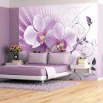 фотообои над кроватью фиолетовая орхидея