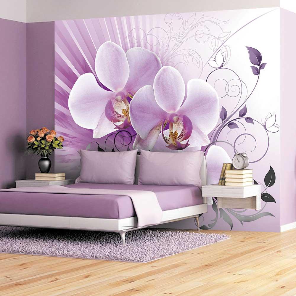 фотообои над кроватью сиреневая орхидея