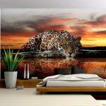фотообои над кроватью леопард у воды
