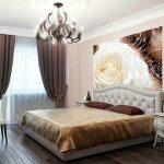 фотообои над кроватью - белая роза