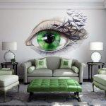 фотообои над кроватью - зеленый глаз