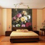 фотообои над кроватью картина маслом розы