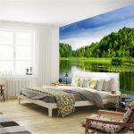 фотообои над кроватью - озеро в лесу