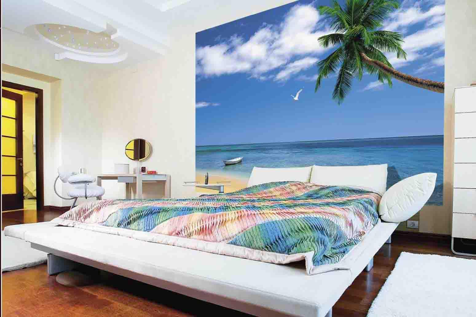 фотообои над кроватью пальма