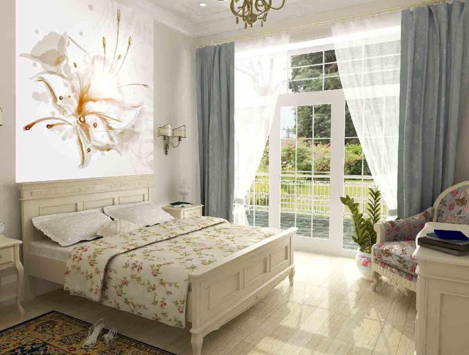 фотообои над кроватью пастельных тонов