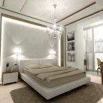 интерьер белой спальни с деревянным декором
