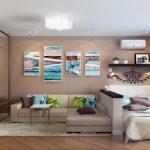 зонирование спальной комнаты и гостинной, встроенный шкаф