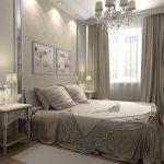 интерьер классической спальни в серых тонах