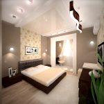 интерьер спальни с зонами