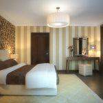 интерьер классической спальни с парными обоями