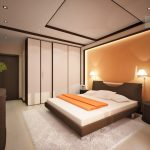 спальня с оранжевой стеной