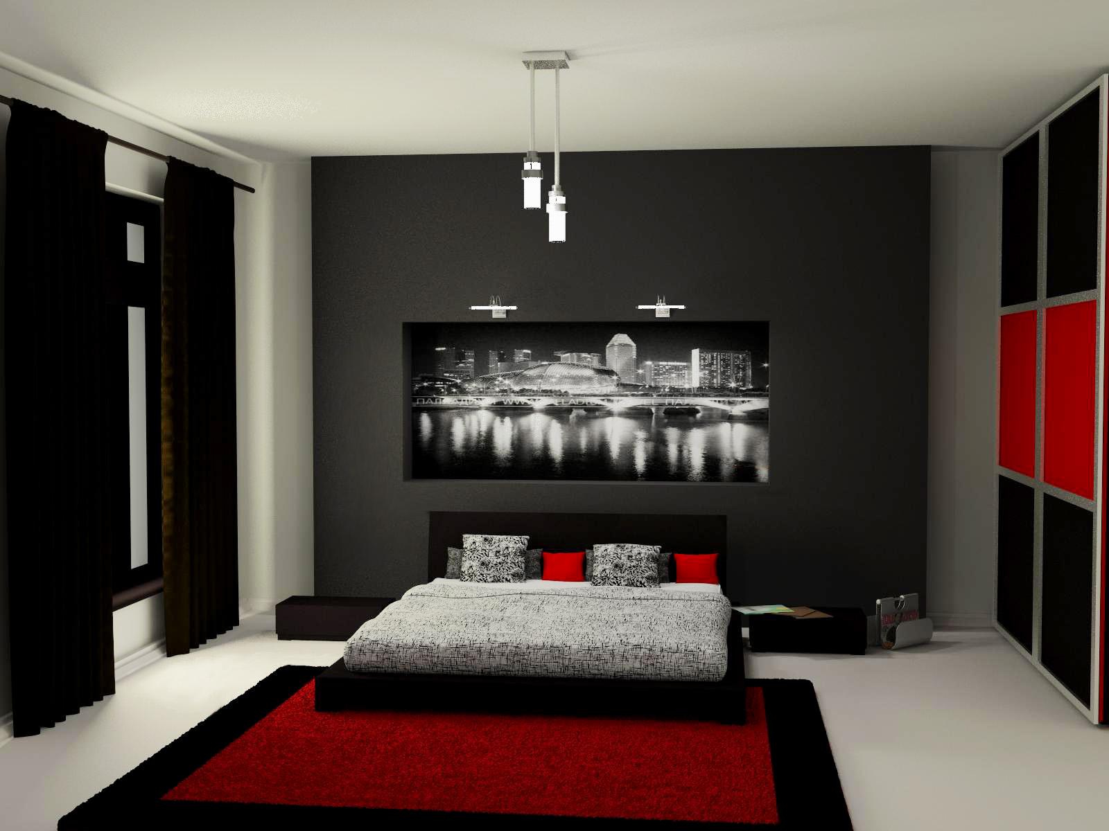 интерьер красно-черной комнаты