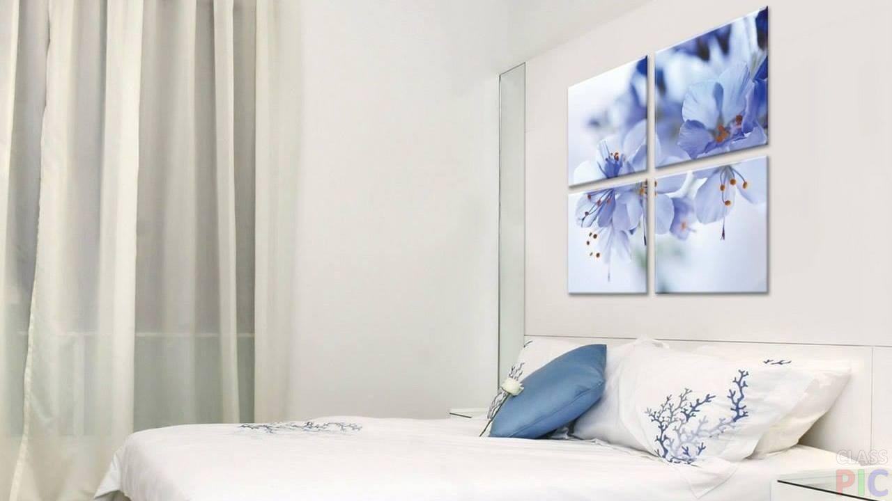 картина стене голубой цветок