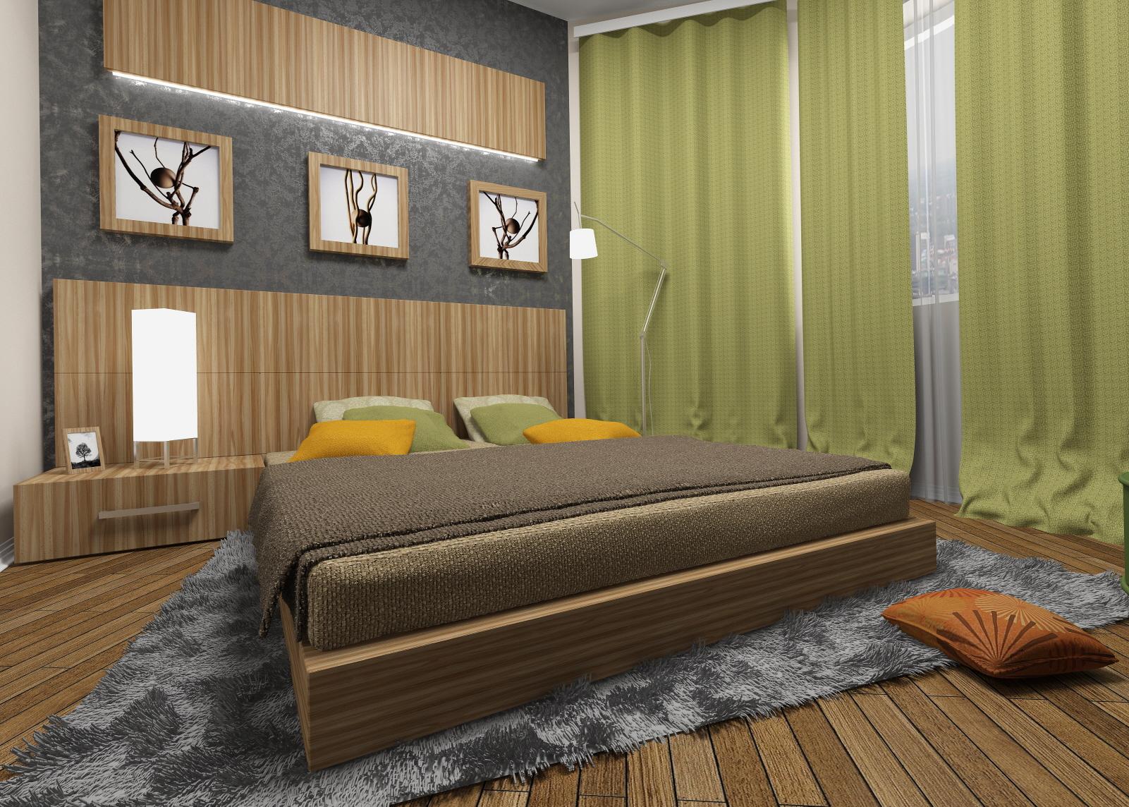 спальня экологического стиля с зелеными занавесками