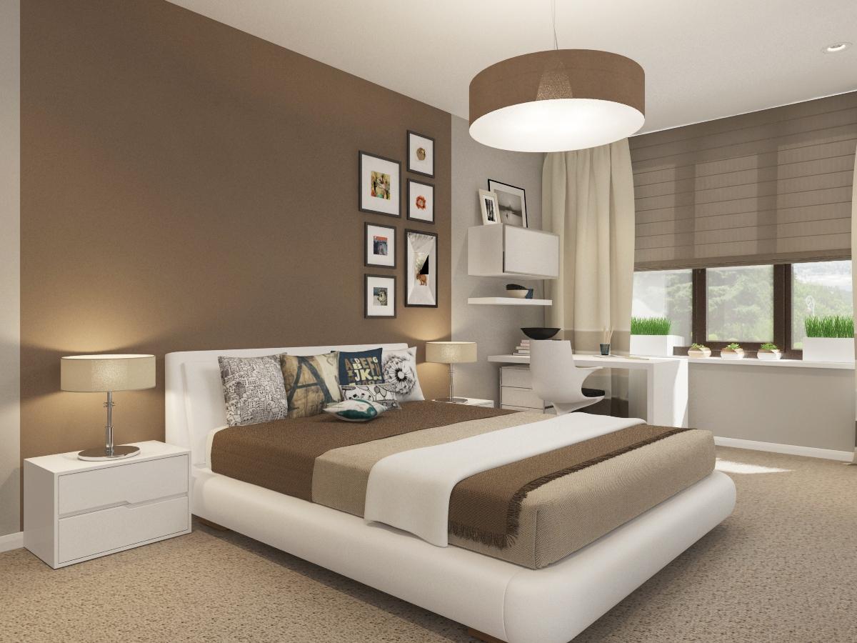 бело-коричневая комната в стиле минимализм