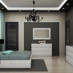 красивая спальня с бирюзовой отделкой
