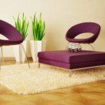 кресло и слол фиолетового цвета в стиле минимализм
