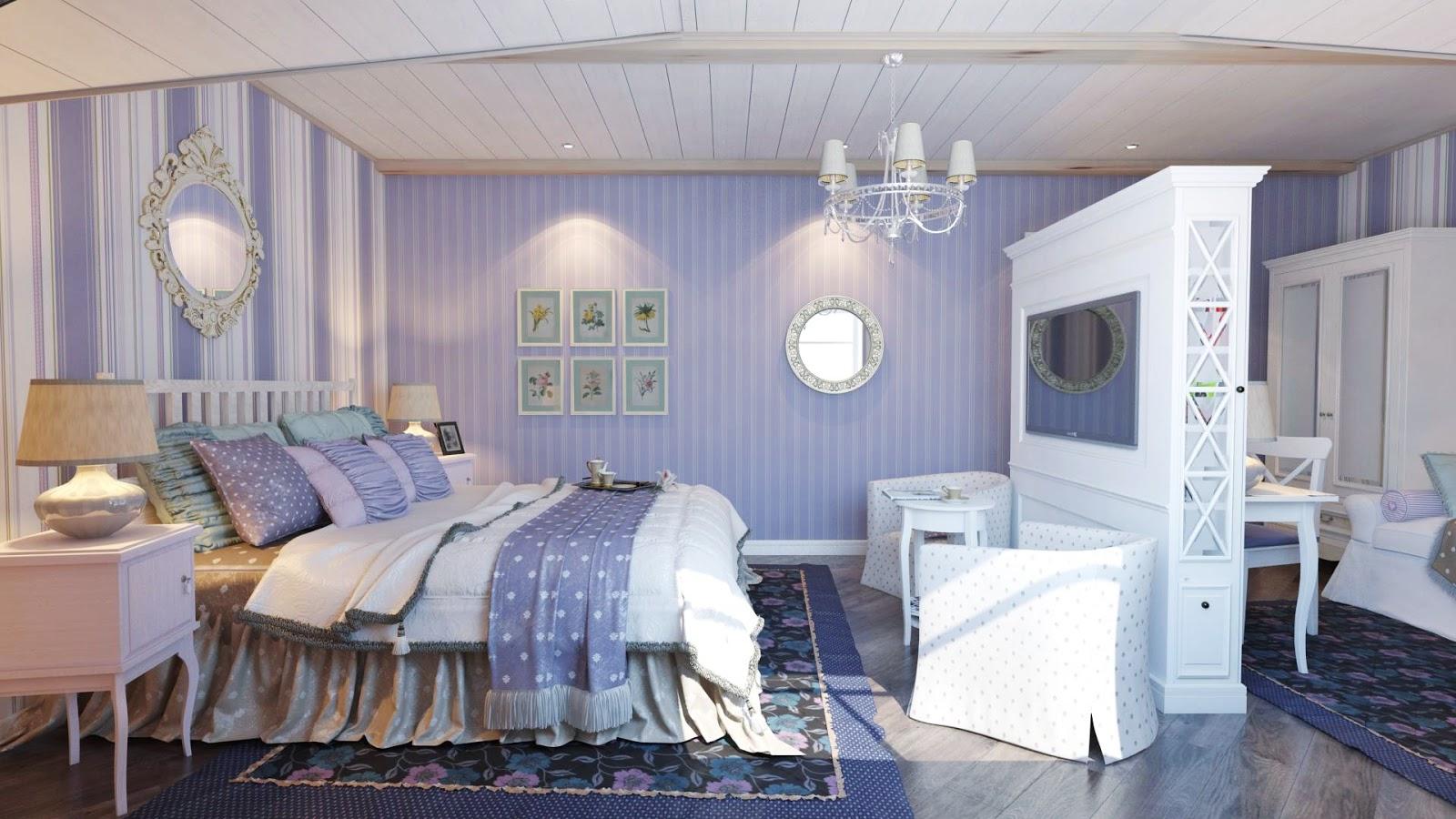 кровать прованс в итерьере бело-голубой спальни