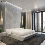 кровать в стиле минимализм, элементы декора