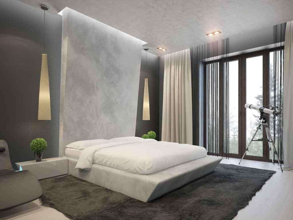 кровать в стиле минимализм с декором