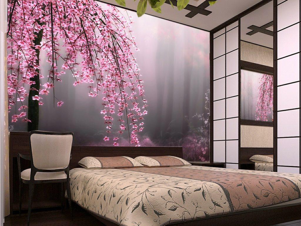ламинированные фотообои над кроватью сакура