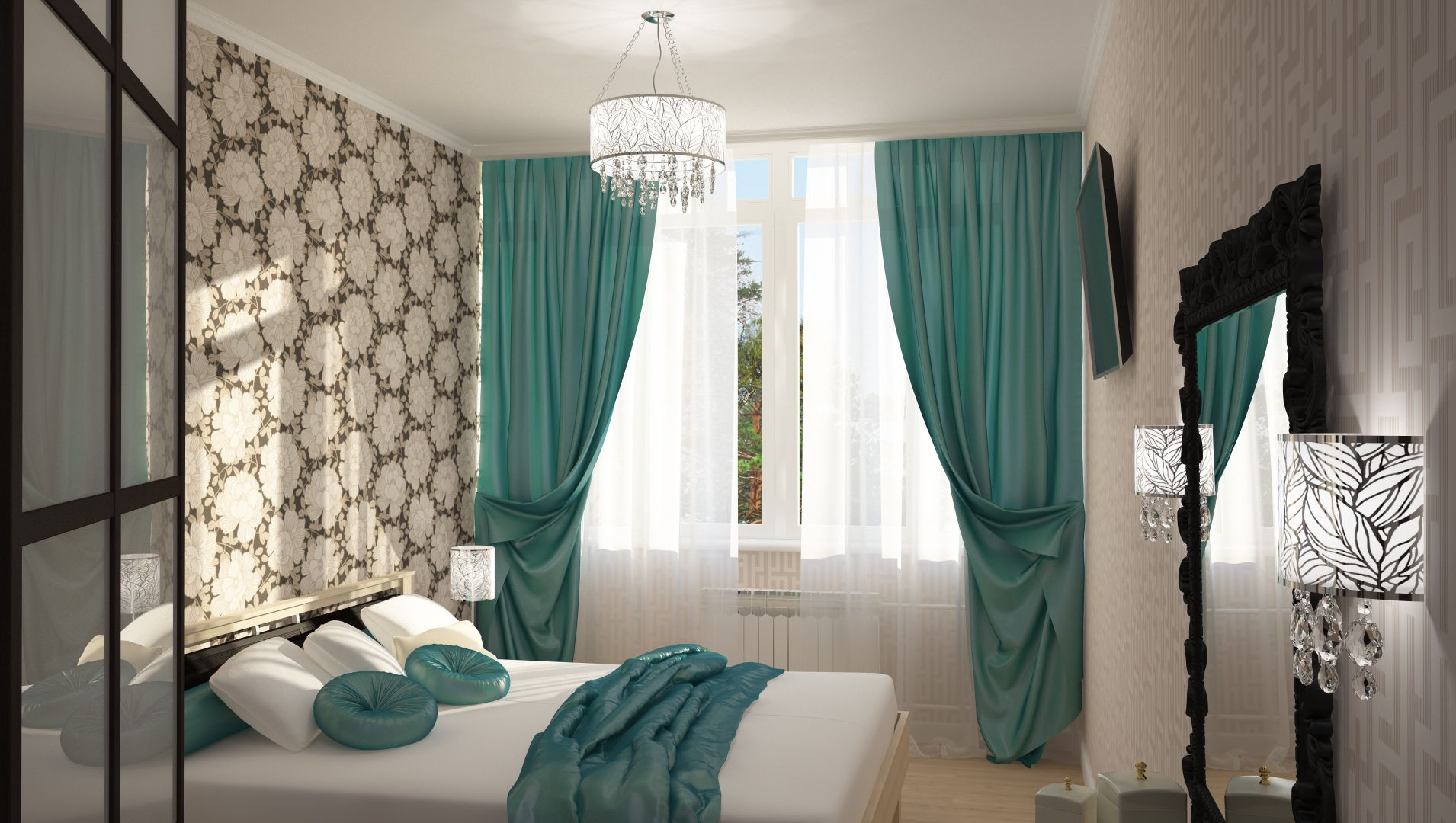 легкие бирюзовые занавески на окнах в интерьере спальни