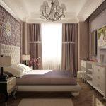 дизайн маленькой спальни в коричнево-белых тонах.
