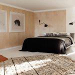 спальня минимализм с декором - картинами