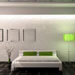спальня в стиле минимализм с элементами салатового декора