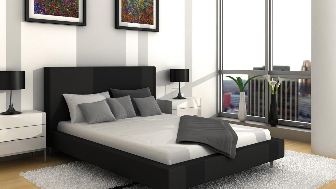 черно-белый дизайн комнаты в стиле минимализм