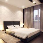 кровать с ковриком в стиле минимализм