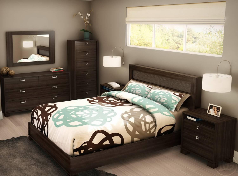 темная мебель небольшой спальни минимализм