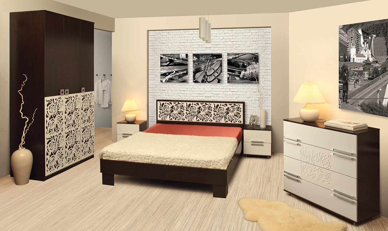 спальный гарнитур для спальни в стиле минимализм: кровать, тумба, шкаф, прикроватные тумбочки